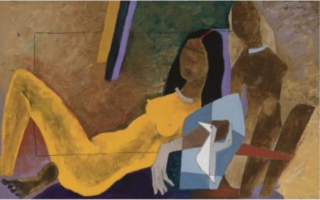 Maqbool Fida Husain-Untitled (Yellow Bride)-