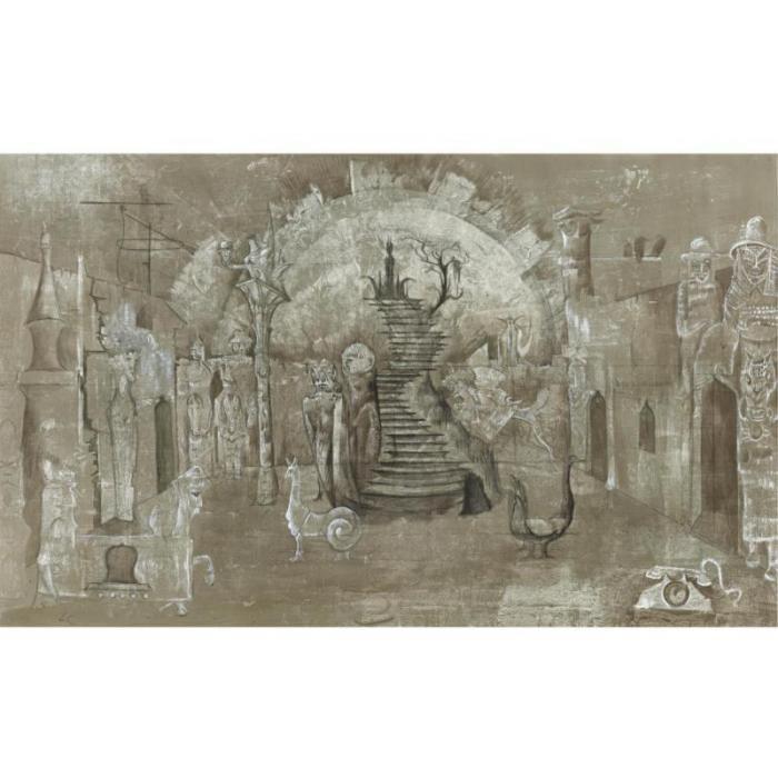 Leonora Carrington-Escenografia para el rey se muere dirigido por Jodorowsky-1971
