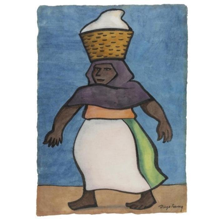 Diego Rivera-Mujer con canasta en la cabeza-