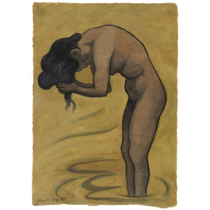 Diego Rivera-Mujer banandose-1935