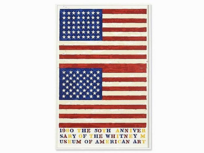 Jasper Johns-Two Flags - Whitney Anniversary (Ulae 207)-1980
