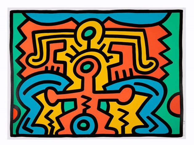 Keith Haring-Keith Haring - Growing V, From Growing series-1988
