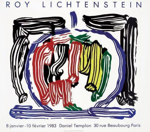Roy Lichtenstein-Poster for his solo exhibition at Galerie Daniel Templon in Paris-1983