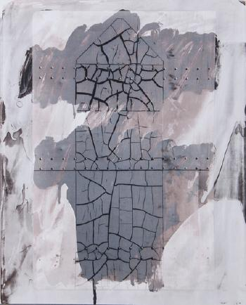 Robert Rauschenberg-Robert Rauschenberg - Cracked Surface and Rivets I (from the Bleacher Series)-1989