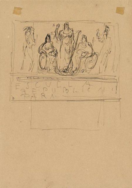 Lucio Fontana-Projekt fur ein Monument Entwurfe fur Marmorvasen und Grabst-1941