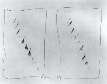 Lucio Fontana-Concetto spaziale, due studi-1954