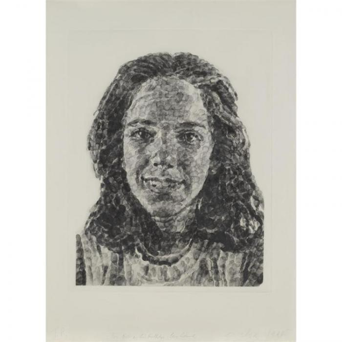 Chuck Close-Georgia / Fingerprint II-1985