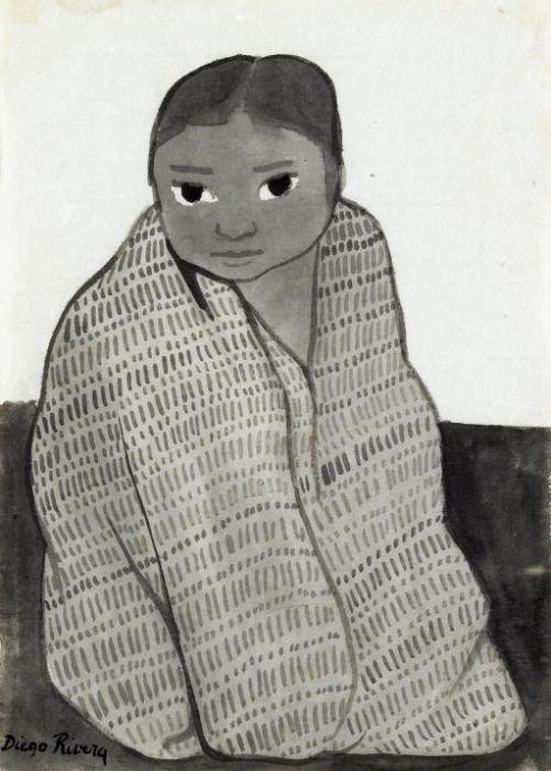 Diego Rivera-Portrait of a young girl-