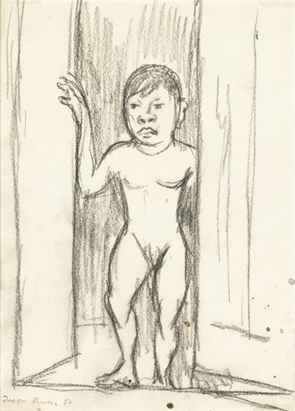 Diego Rivera-Desnuda Parada en la Puerta-1950