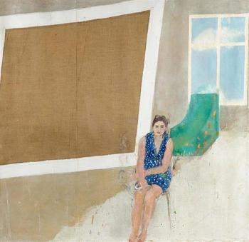 Anselm Kiefer-Studie zu Interieur mit Sitzender (Study of Interior with Seated Figure)-1968