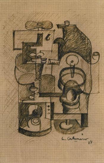 Le Corbusier-Deux bouteilles et livre-1928