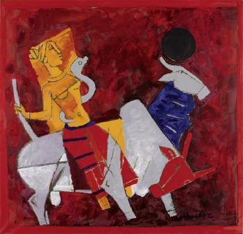 Maqbool Fida Husain-Untitled (Goddess riding)-1969