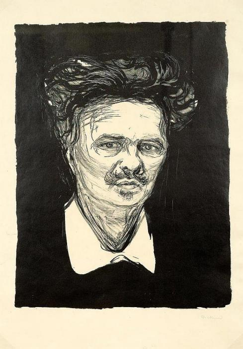 Edvard Munch-August Strindberg / Portrait August Strindberg (W. 66; Sch. 77)-1896