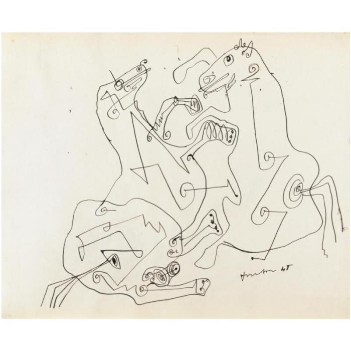 Lucio Fontana-Cavalli decorativi-1948