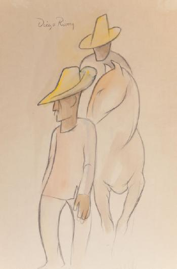 Diego Rivera-Two Men and Horse-