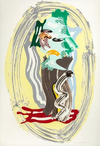 Roy Lichtenstein-Green Face (from the Brushstrokes series)-1989