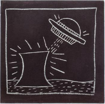 Keith Haring-Keith Haring - Flying Saucer with Nuclear Reactor (Radiation)-1982