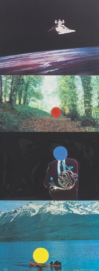 John Baldessari-A French Horn Player, a Square Blue Moon, and Other Subjects Series, with Three Contexts One Uncoded (C.-H. 72; G. 1608)-1994