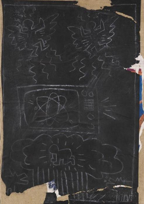 Keith Haring-Keith Haring - Atomic Bomb (Subway drawing)-1980