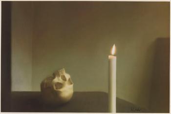 Gerhard Richter-Schadel mit Kerze (Skull with Candle) / Vanitas-Motiv: Totenkopf mit brennender Kerze-1995