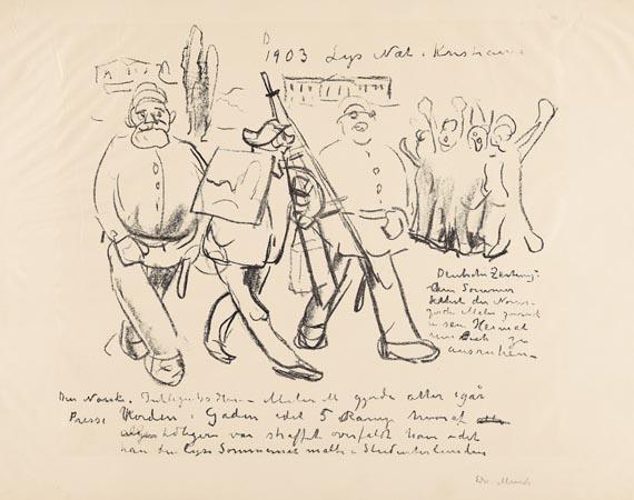 Edvard Munch-Karikatur: Die Arretierung (Woll 379 A (von B). Schiefler 343)-1910