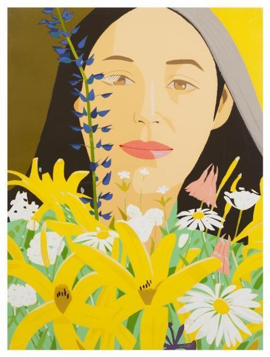 Alex Katz-Ada with Flowers-1980