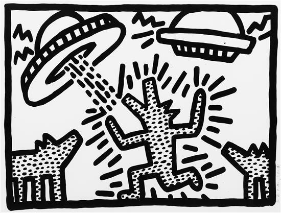 Keith Haring-Keith Haring - Spaceships & Dog-1982