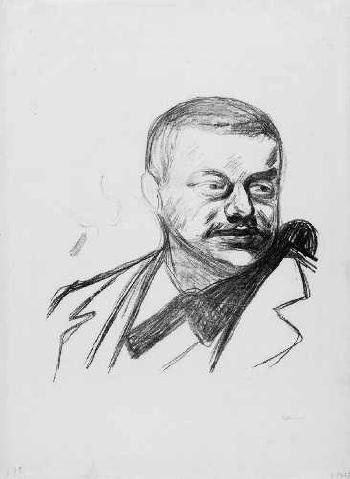 Edvard Munch-Portrait Gunnar Heiberg (Woll 83 III)-1896