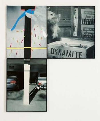 John Baldessari-The Overlap Series: Building (with Two Cars) and Goat Eating Dynamite-2001
