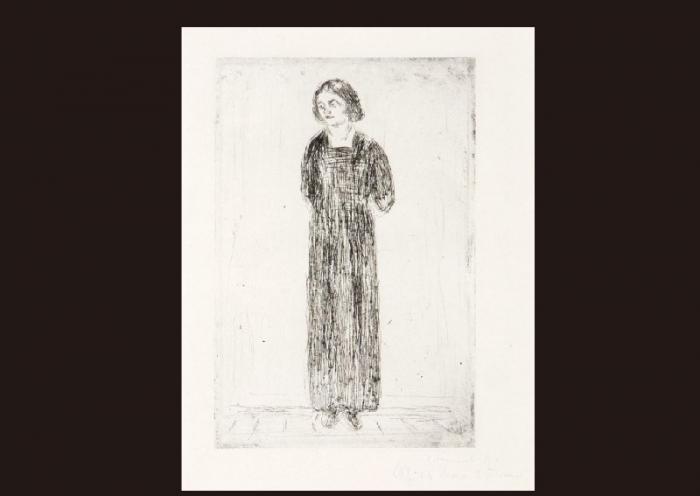 Edvard Munch-Young Woman in Dark Dress-1914