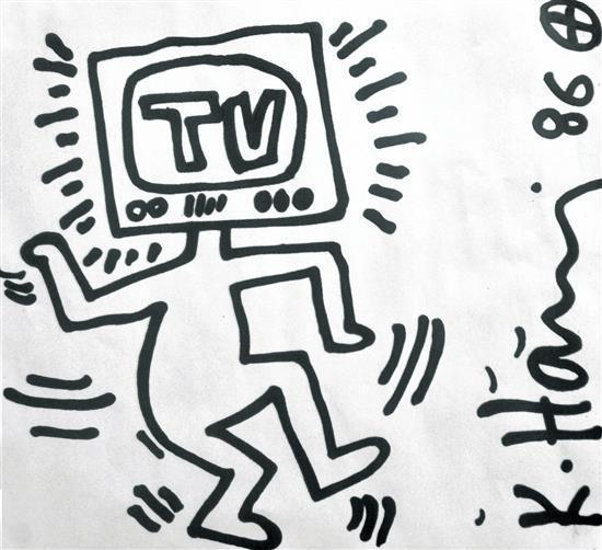 Keith Haring-Keith Haring - Man with television head-1986