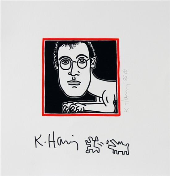 Keith Haring-Keith Haring - Self portrait with an additional hand-drawing-1985
