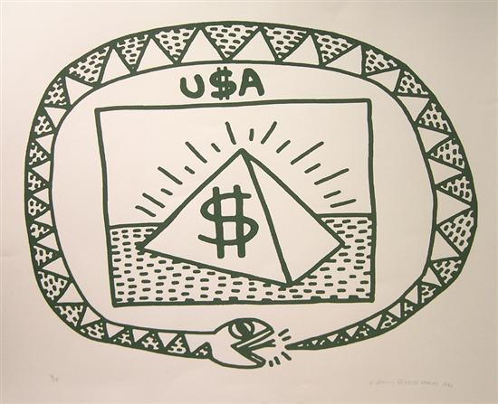 Keith Haring-Keith Haring - Untitled (Snakle and Piramid)-1983