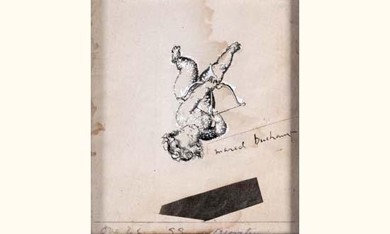 Marcel Duchamp-Chess Cupid with Chess Move (Projet original d'invitation d'e)-1948