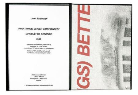 John Baldessari-Two Things Better Experienced / Difficult to Describe-1988
