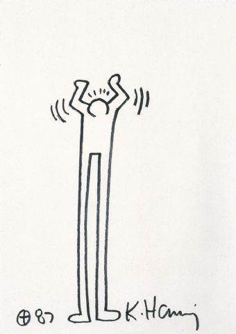 Keith Haring-Keith Haring - Untitled, figure with long legs-1987