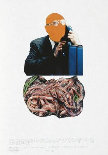 John Baldessari-The Phone Call: Faceless Man (orange) with Glasses /Entanglement Of Worms (with Greenery)-1992