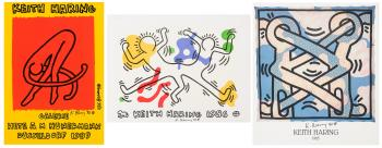 Keith Haring-Keith Haring - Drie gesigneerde affiches-