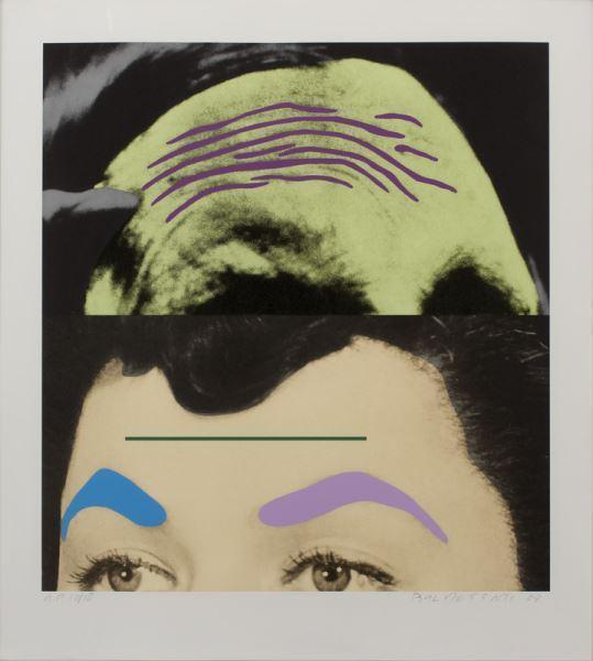 John Baldessari-Raised Eyebrows / Furrowed Foreheads: Two Foreheads (One Green)-2009