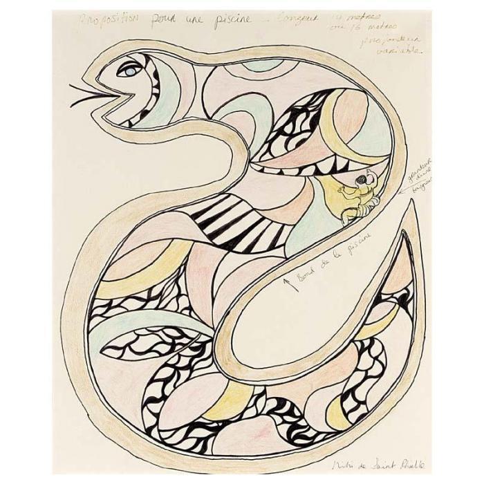 Niki de Saint Phalle-Proposition pour piscine, Longeur 14 Metres Ou 16 Metres Profondeur Variable-1976