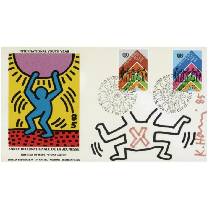 Keith Haring-Keith Haring - International Youth Year, First Day of Issue - WFNU Cachet-1985