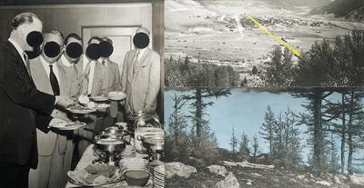 John Baldessari-Men at Buffet Table with Double Landscape-1989
