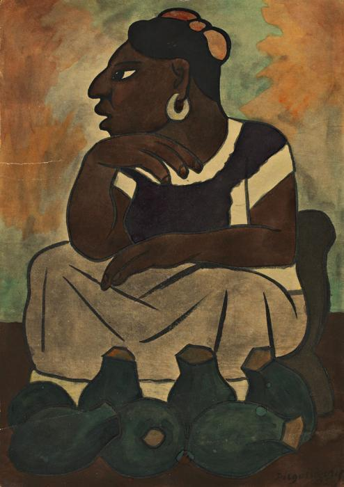 Diego Rivera-Tehuana Vendiendo Ollas-1935