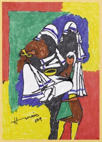 Maqbool Fida Husain-(i) Deux chevaux; (ii) Trois chevaux; (iii) Nomades-2009