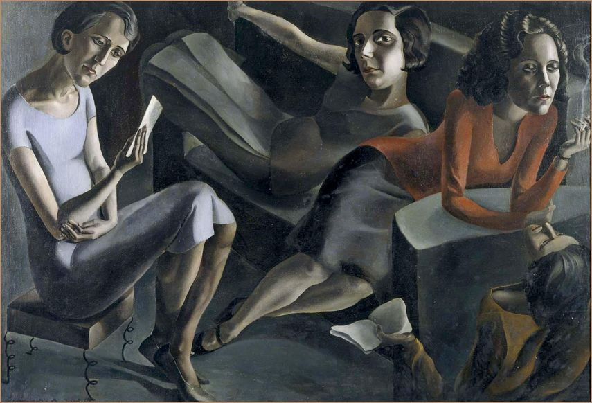 Ángeles Santos - Tertulia, 1929, a painting by a surrealist artist and painter born in Spain