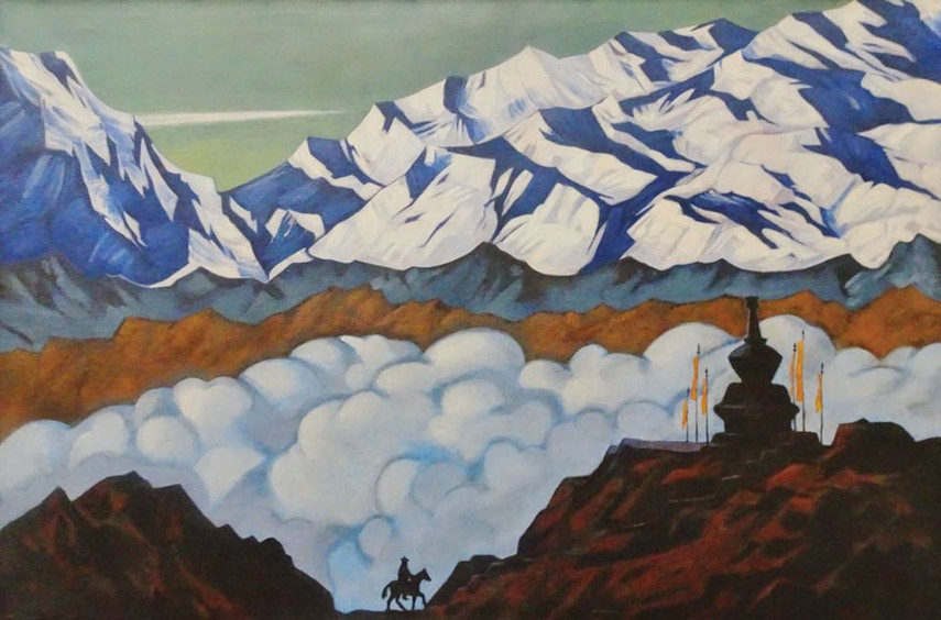 A Mountainscape ascribed to Roerich