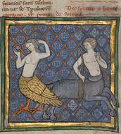 A Siren and a Centaur, Bestiary ca. 1270, via bildgeist.com