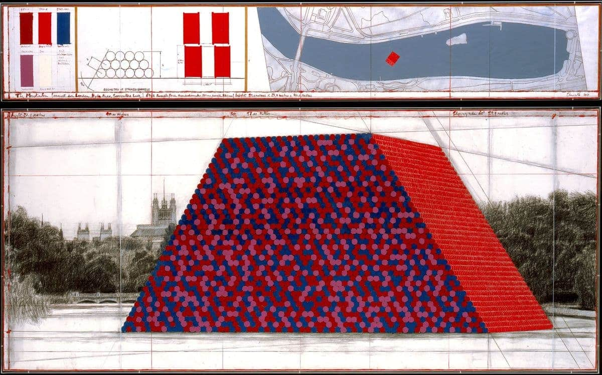 "A close up drawing of Christo's ""The Mastaba"", a new 2018 work in London"