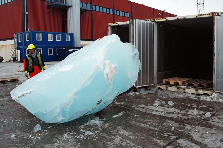 A piece from Olafur Eliasson's Ice Watch 2015