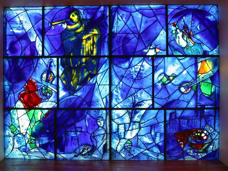 A portion of Marc Chagalls America Windows at the Art Institute of Chicago